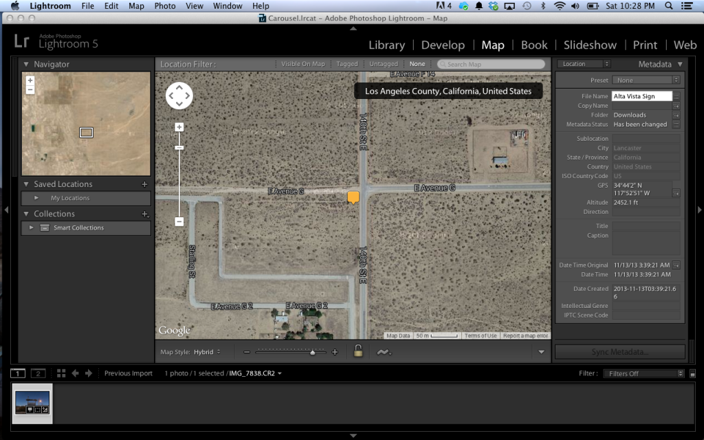 """The """"Map"""" tab in Lightroom"""